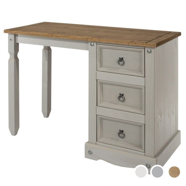 Corona 3-Drawer Single Pedestal Dressing Table - Pine, Grey or White