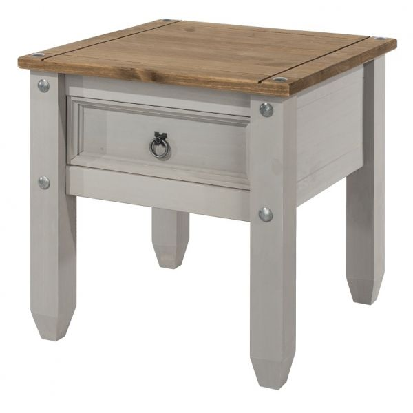 Corona Waxed Pine Lamp Table - Pine or Grey