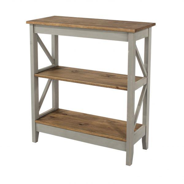 Corona 3-Tier Wide Shelf Storage Unit - Pine or Grey