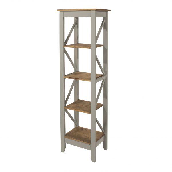 Corona 5-Tier Narrow Shelf Storage Unit - Pine or Grey
