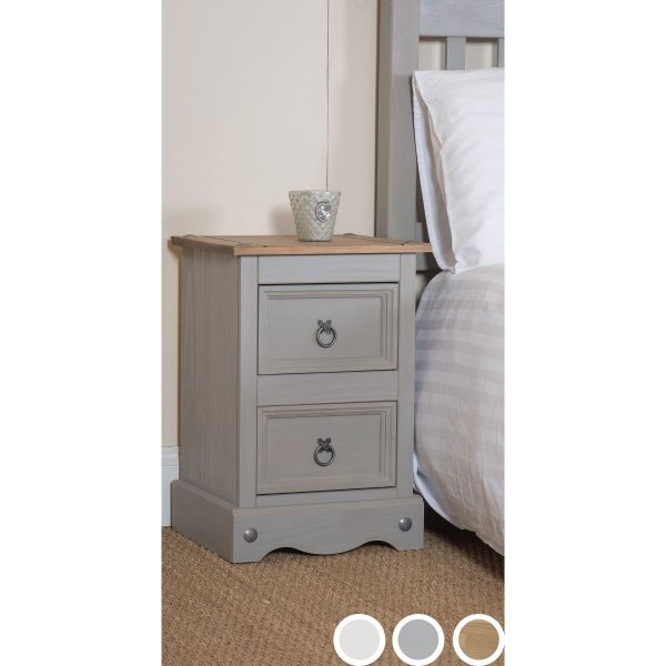 Corona 2-Drawer Bedside Table - Pine, Grey or White