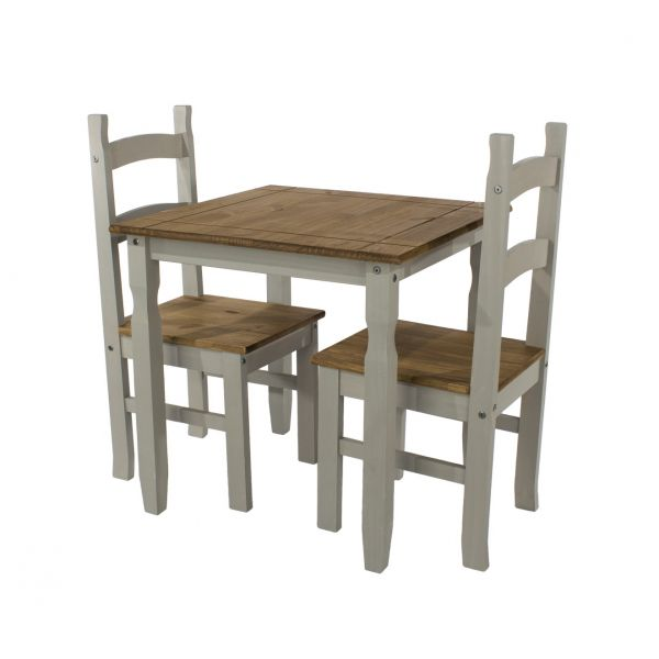 Corona Square Pine Dining Table & 2 Chairs Set - Pine or Grey