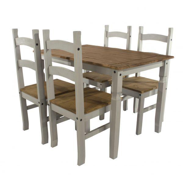 Corona 150cm Pine Dining Table & 4 Chairs Set - Pine or Grey