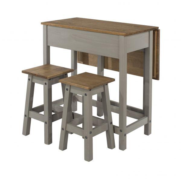 Corona Pine Drop-Leaf Dining Table & 2 Stool Set - Pine or Grey