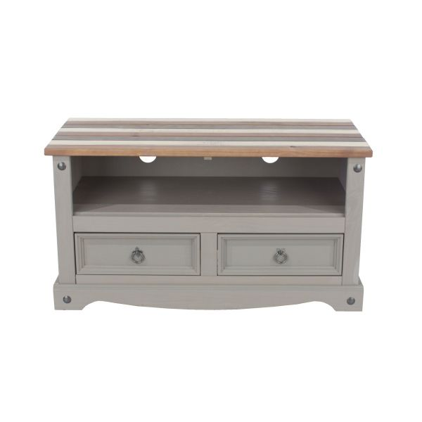 Corona Vintage Grey Waxed Pine 2-Drawer TV Stand