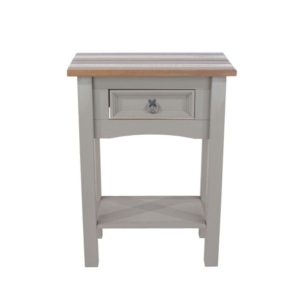 Corona Vintage Grey Waxed Pine 1-Drawer Hall Table