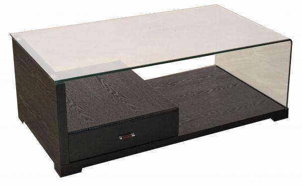 Milano Black 1-Drawer Glass Coffee Table