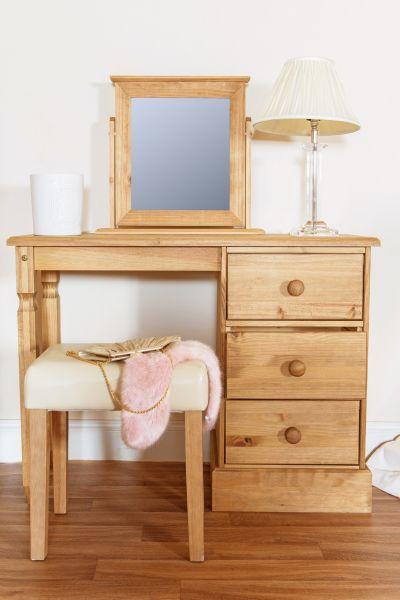 Cotswold Pine 3-Drawer Pedestal Dressing Table