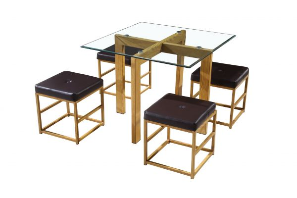 LPD Cube Dining Table & Chairs Set - Oak/Brown