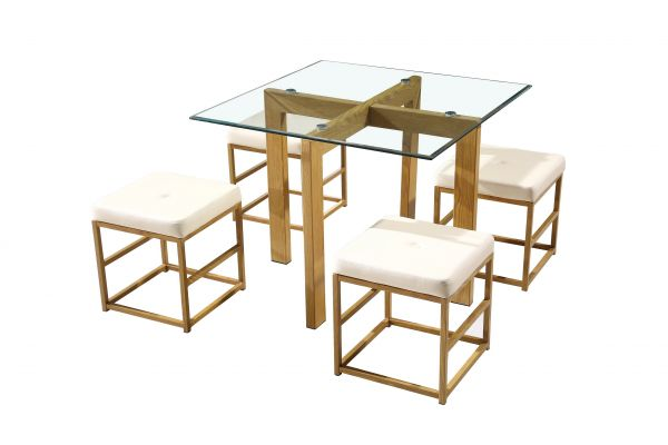 LPD Cube Dining Table & Chairs Set - Oak/Cream