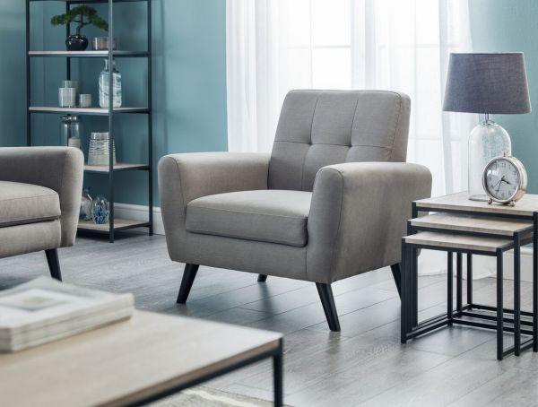 Julian Bowen Monza Grey Fabric Retro Armchair