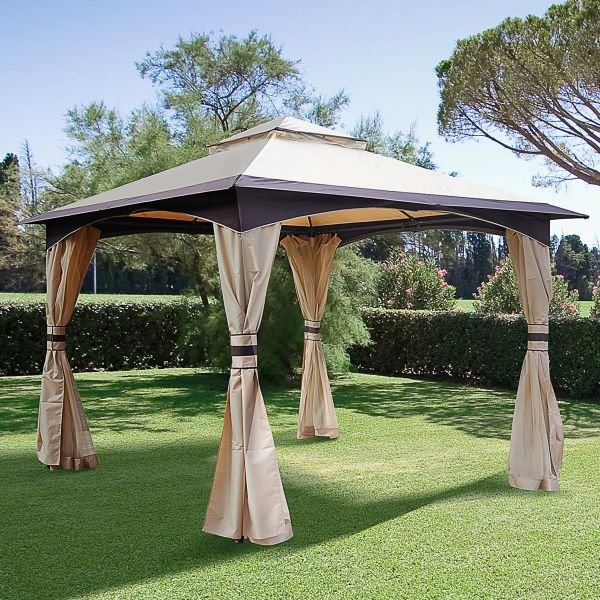 Outsunny Steel Frame Vented Roof Gazebo - Beige