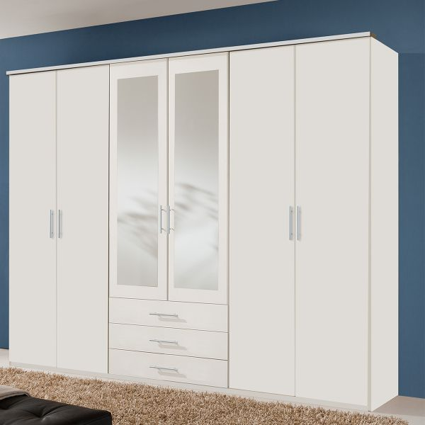 Banha 6 Door 3 Drawer Mirrored Wardrobe - White