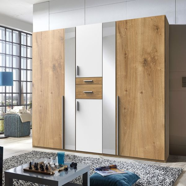 Odense 5 Door Mirrored Wardrobe - White And Planked Oak