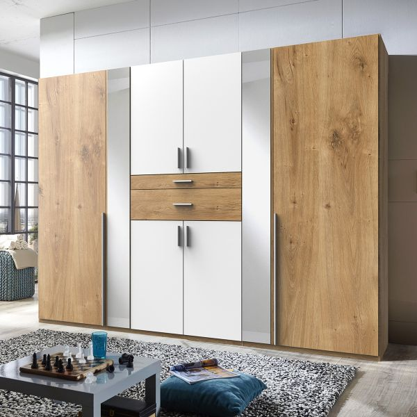 Odense 6 Door Mirrored Wardrobe - White And Planked Oak