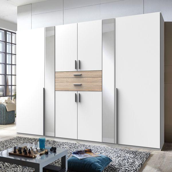 Odense 6 Door Mirrored Wardrobe - White And Oak