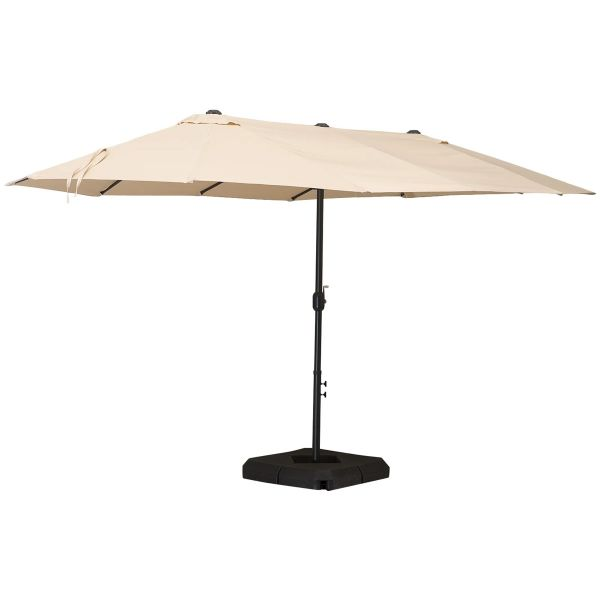 Outsunny 4.9m Double Sided Steel Frame Outdoor Parasol with Base - Beige