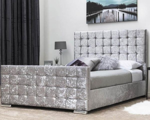 Dalkeith Silver Crushed Velvet Cube Bed - Double