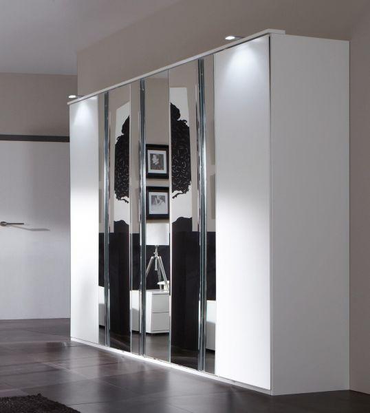 Davos 5-Door Mirrored Wardrobe - White