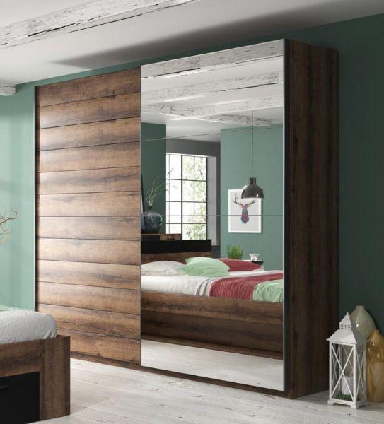 Baldo-V 2-Door Mirrored Sliding Wardrobe - Oak