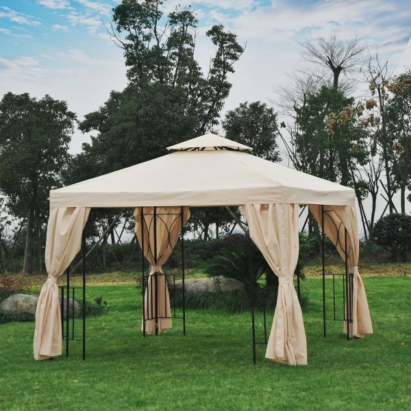 Outsunny 3x3m Gazebo with Side Panel - Beige