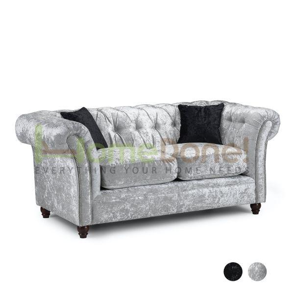 Derb Crushed Velvet 2 Seater Sofa - Silver