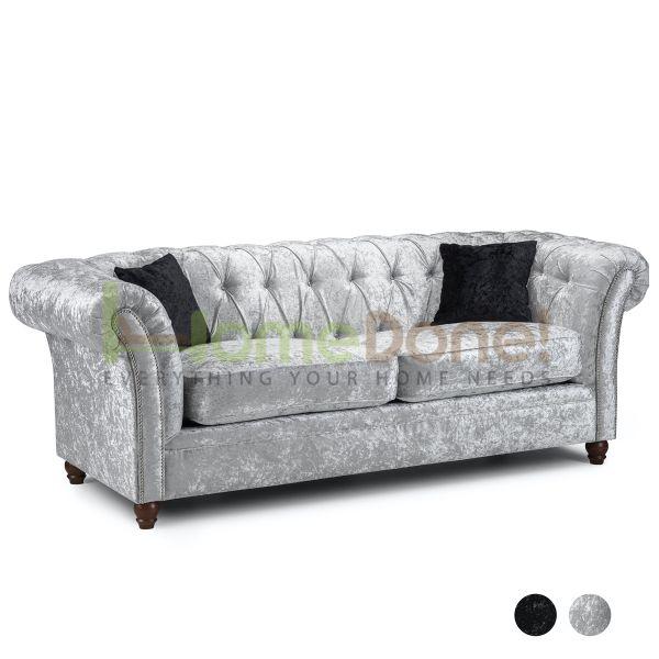 Derb Crushed Velvet 3 Seater Sofa - Silver