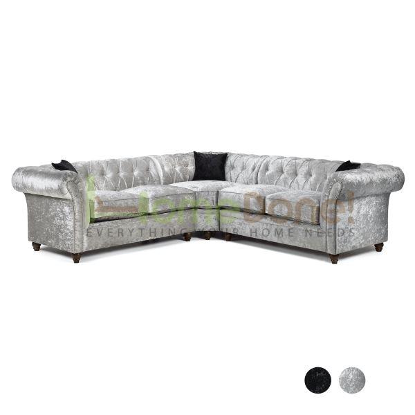 Derb Crushed Velvet Corner Sofa - Silver