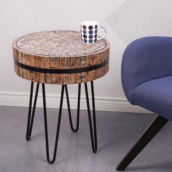 Tuka Rustic Wooden Side Table