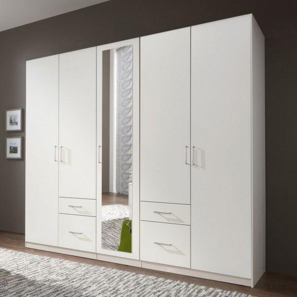 Fly 5-Door 4-Drawer Mirrored Wardrobe - White