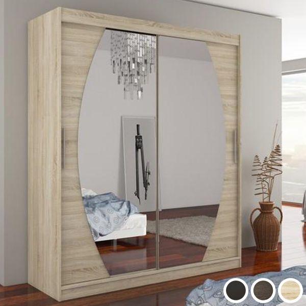 Byron 2-Door Sliding Mirrored Wardrobe 180cm - Sonoma Oak, Brown or Black