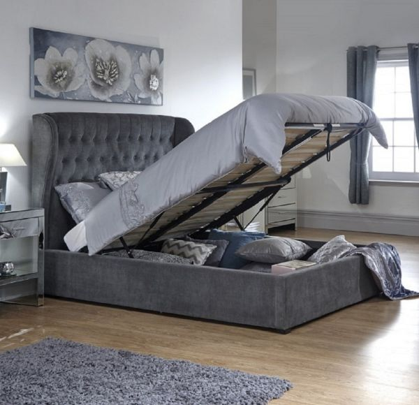 Dakota Pewter Winged Ottoman Bed Frame - Double or King