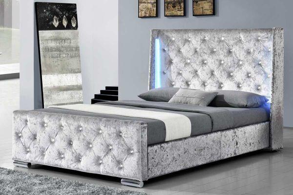 Dorchester LED Winged Silver Crushed Velvet Bed - Double