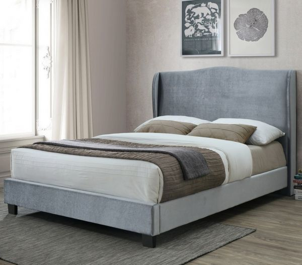 Birlea Dover Silver Fabric Bed - Small Double, Double or King