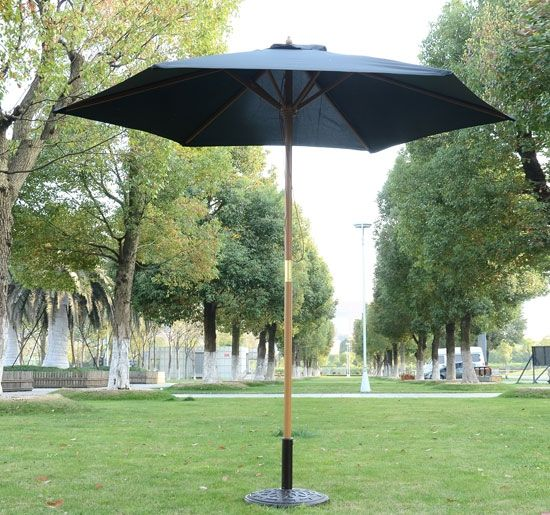 Outsunny 2.5m Wooden Sun Umbrella Parasol - Black, Cream or Green