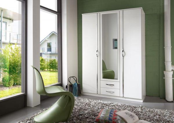 Duo 3-Door 2-Drawer Mirrored Wardrobe - White