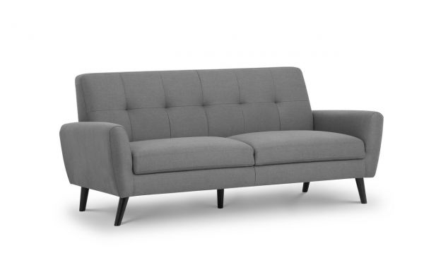 Julian Bowen Monza Grey Fabric Retro 3-Seat Sofa