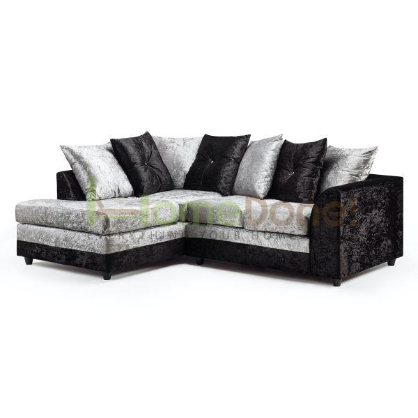 Dyla Crushed Velvet Corner Sofa - Black/Silver