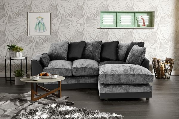 Dylan Chenille Fabric Corner Sofa in Black and Grey