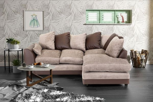 Dylan Chenille Fabric Corner Sofa in Brown and Beige