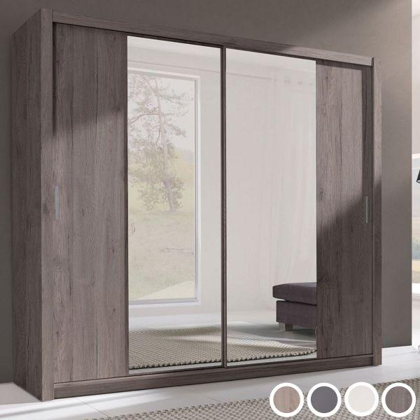 Vesta 2-Door Mirrored Sliding Wardrobe - 4 Sizes - 4 Colours