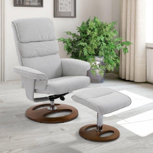 Homcom Recliner Swivel Armchair & Stool Set - Grey