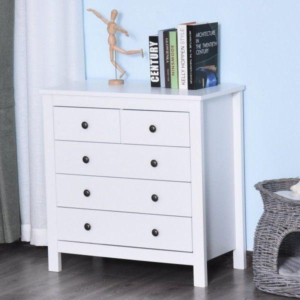 Homcom 5-Drawer Storage Chest - White