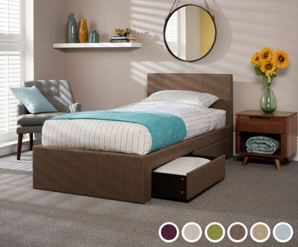 Scarlett Single 2-Drawer Fabric Bed - 6 Colours