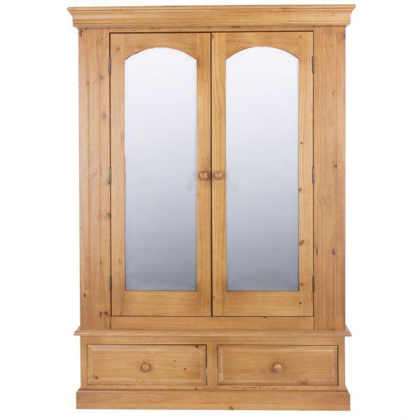 Edwardian Pine 2 Door 2-Drawer Mirrored Wardrobe