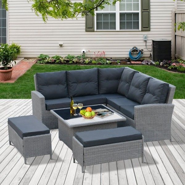 Outsunny 6PC Outdoor Rattan Corner Dining Set - Grey
