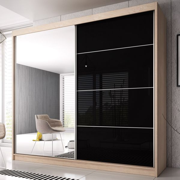 Mable-XI 2-Door Mirrored Sliding Wardrobe - Sonoma Oak & Black Gloss