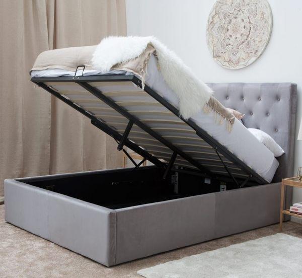Eltham Grey Velvet Ottoman Bed - King