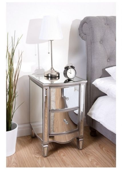 Birlea Elysee 2-Drawer Glass Bedside Table