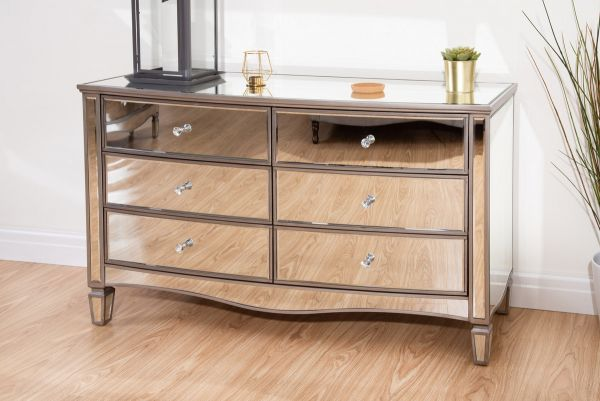 Birlea Elysee 6-Drawer Glass Storage Chest
